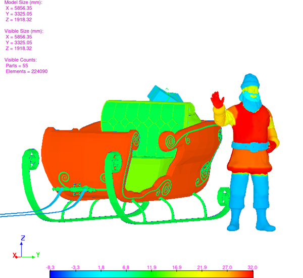 thermal simulation of santa and sleigh